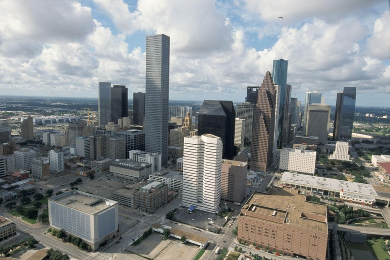 Houston, Texas: Downtown skyline dominated by the Chase Tower, the tallest building in Texas. August 2001  ©Bob Daemmrich. Image shot 2001. Exact date unknown.