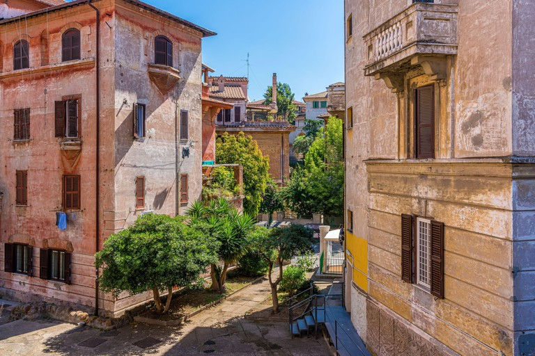 The picturesque Garbatella neighborhood in Rome on a sunny morning, Italy.