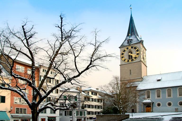 Switzerland Zurich St Peterhofstatt church st Peter in winter. Image shot 2014. Exact date unknown.