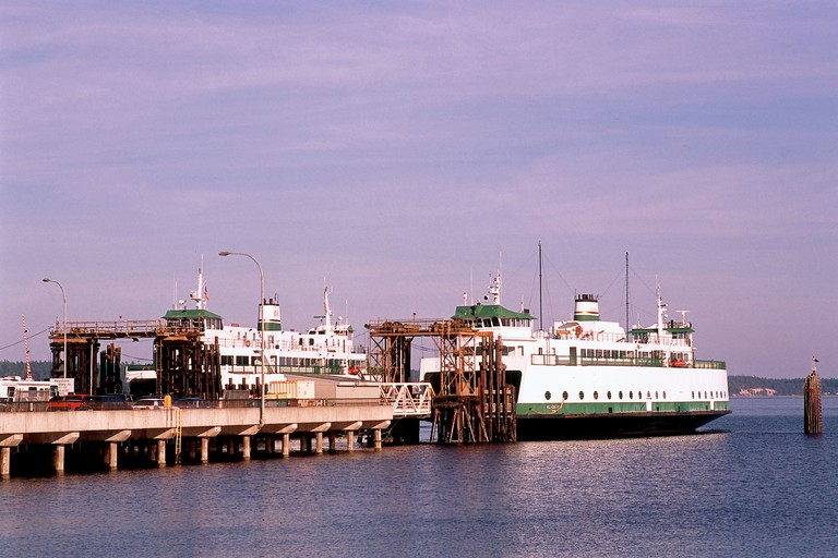 Pacific Northwest, Washington State, Washington State Ferries terminal,ferries docked ready for passengers to board