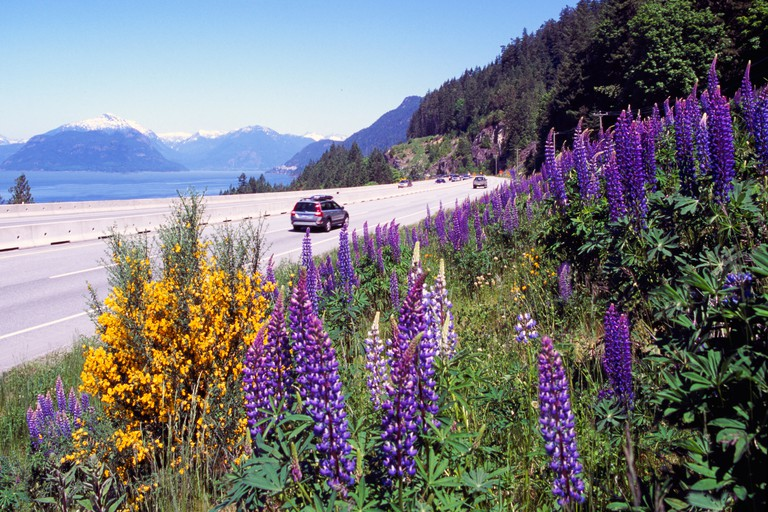 """Scenic """"Sea to Sky"""" Highway (Hwy 99) from Vancouver to Whistler, BC, British Columbia, Canada - Howe Sound, Coast Mountains"""