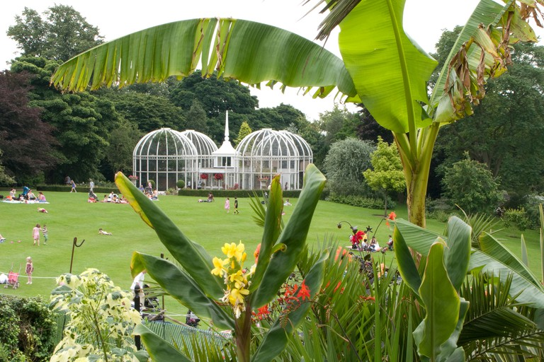 A view of the famous Lawn Aviary at Birmingham Botanical Gardens ENgland UK