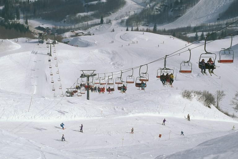 ski slopes in val di luce, abetone, italy