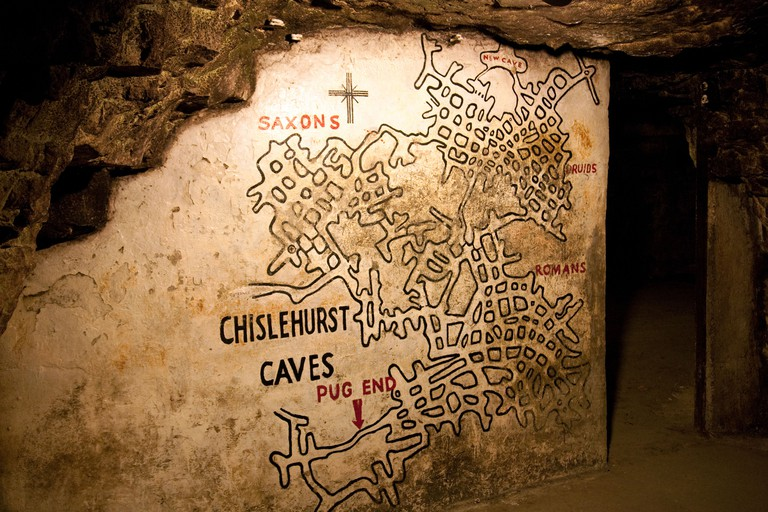 The map of the caves at the entrance, Chislehurst Caves, Chislehurst, Kent, UK