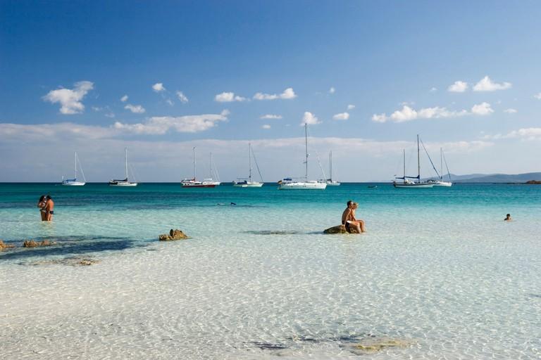 couples at Cala Brandinchi Beach, Italy, Sardegna