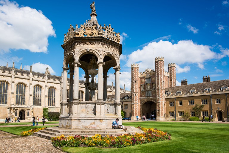 Cambridge University Trinity College Great Court and water fountain. UK. HIGH RESOLUTION IMAGE TAKEN WITH CARL ZEISS LENS.