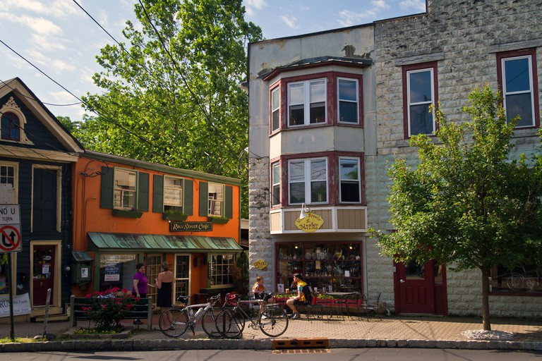 Store fronts in Frenchtown, New Jersey