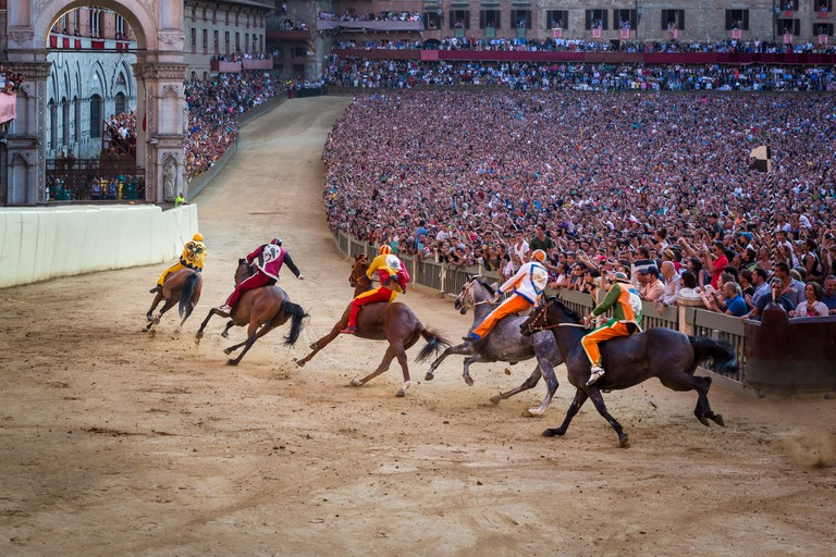 The Palio di Siena horse race on Piazza del Campo, Siena, Tuscany, Italy