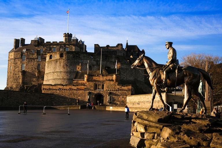 Edinburgh Castle Esplanade and the Statue of Field Marshal Earl Haig, City of Edinburgh, Scotland.