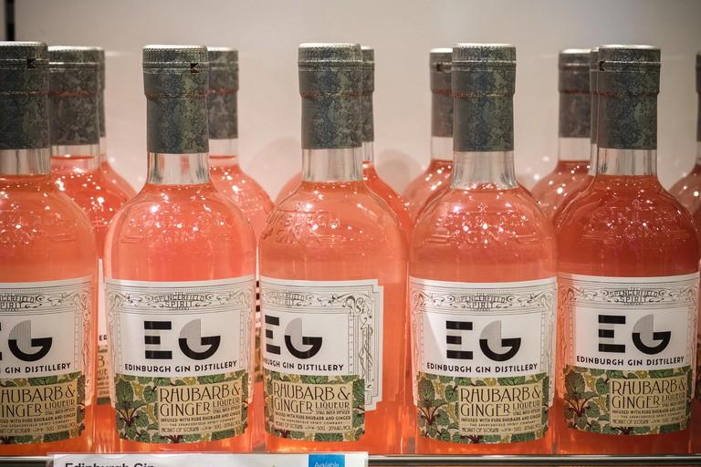 London, UK - August 12, 2018 - Bottles of Edinburgh Gin on display at a duty free shop in London Heathrow Airport