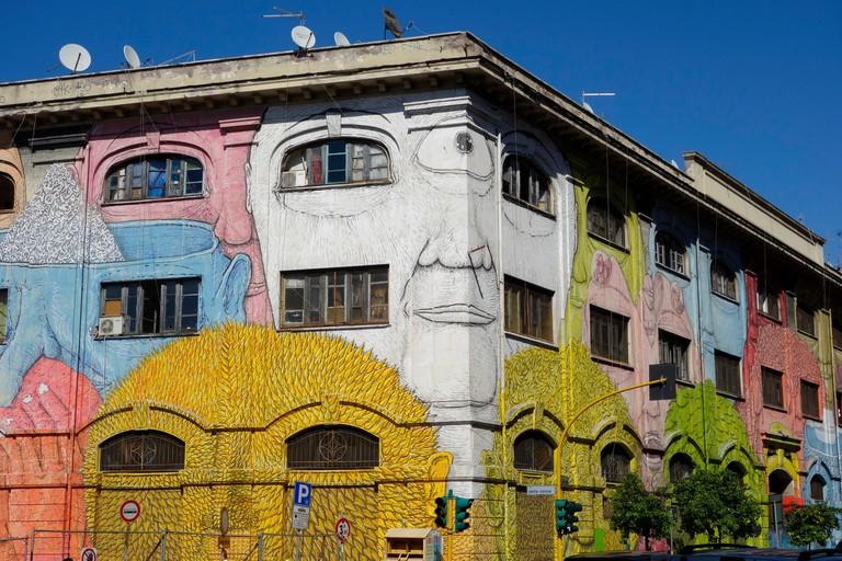 Rome. Italy. Street art by Blu on Via del Porto Fluviale, Ostiense.