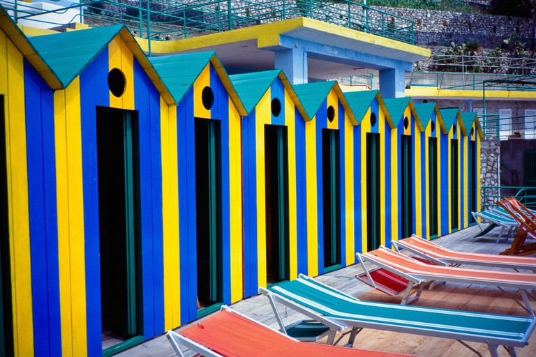 Beach Huts And Sunloungers On Marina Piccola