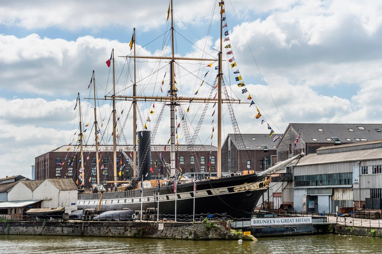 Brunels SS Great Britain is a museum ship and former passenger steamship at Bristol Harbor, Somerset, England, UK