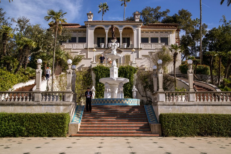 Rear view of the luxurious Hearst Castle estate in California.