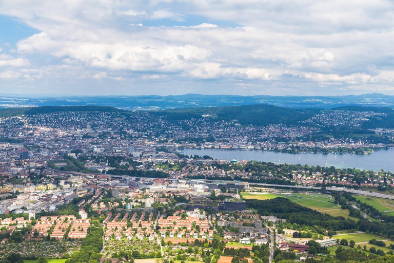 Aerial view of Zurich city and lake from top of Uetliberg, Switzerland