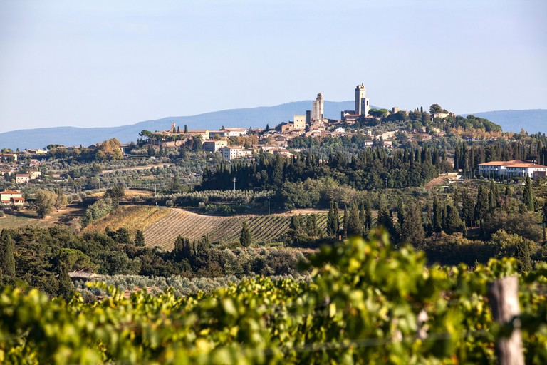A view of San Gimignano from a distant hill on a sunny evening