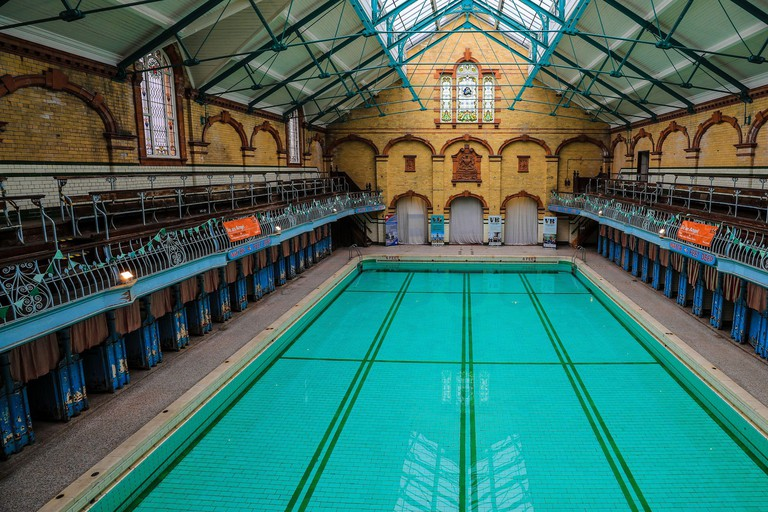 A general view of the interior of Victoria Baths in Manchester, which is having an open swim day on Sunday May 14 to raise funds for restoration work.