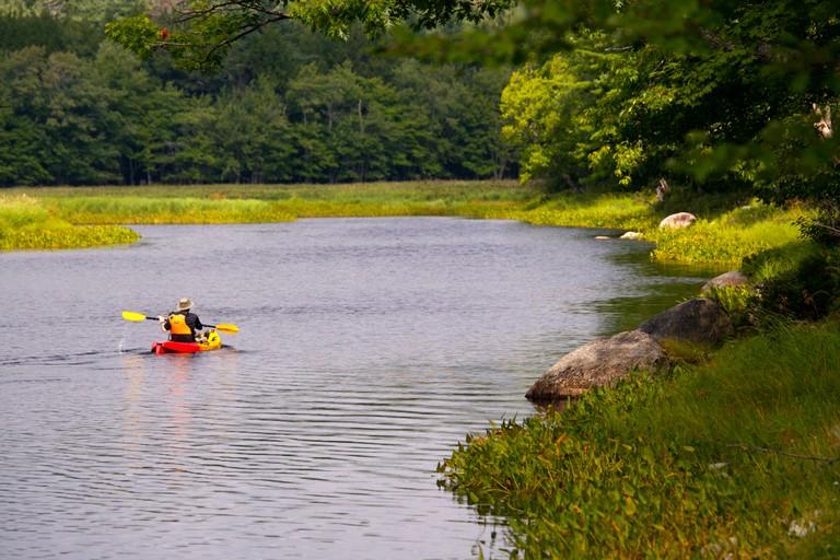 Kayaker on the Mersey River in Kejimkujik National Park and National Historic Site of Canada, Kejimkujik Scenic Drive, Highway 8