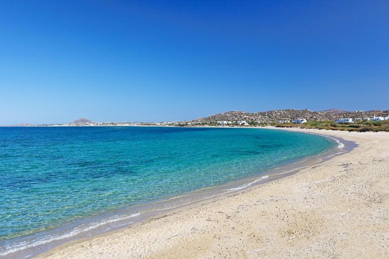 Plaka beach of Naxos island in Cyclades, Greece