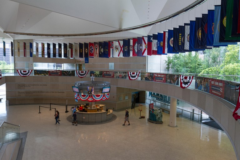 General view of the entrance hall inside the National Constitution Center, Philadelphia, Pennsylvania, United States.
