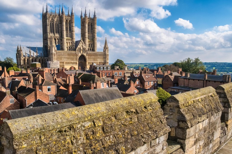 Historic Lincoln Cathedral viewed from Castle walls, City of Lincoln, Lincolnshire, England UK