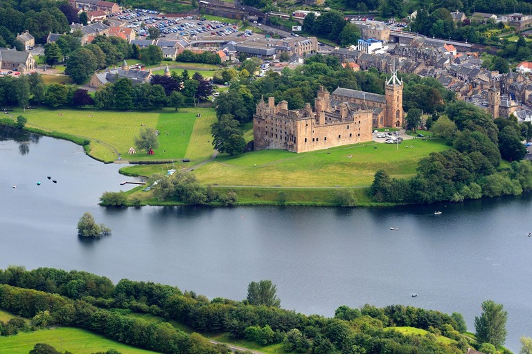 United Kingdom, Scotland, West Lothian, Linlithgow Palace beside Linlithgow Loch was one of the principal residences of the