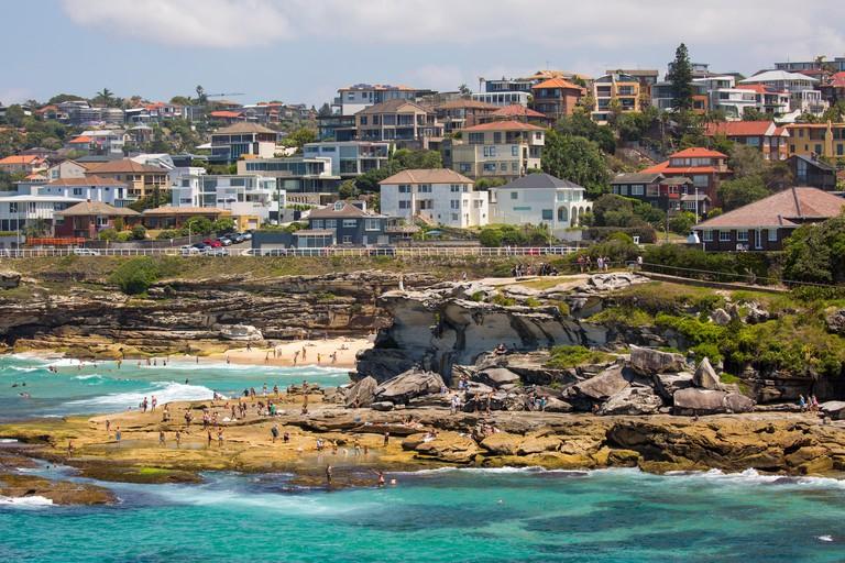 View of mackenzie's bay and Tamarama beach in Sydney eastern suburbs,Australia