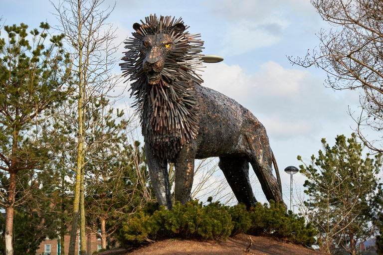 aslan lion sculpture from lion witch and wardrobe in cs lewis square in connswater in east belfast northern ireland
