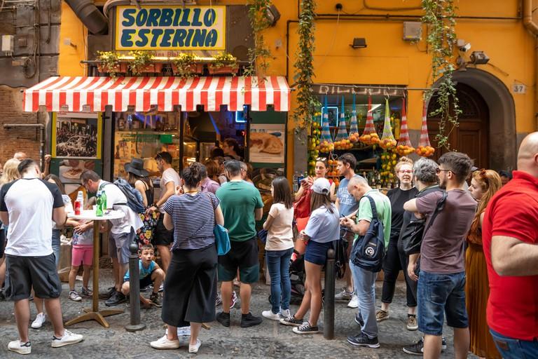 Sorbillo Esterina take-away pizzeria famous for fried pizzas on Via dei Tribunali, Naples, Campania, Italy, Europe
