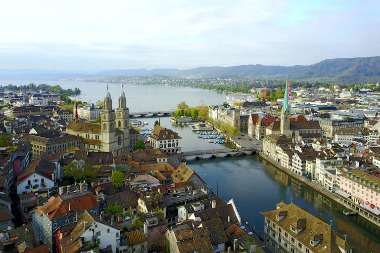 Aerial view of Zurich old town, Switzerland