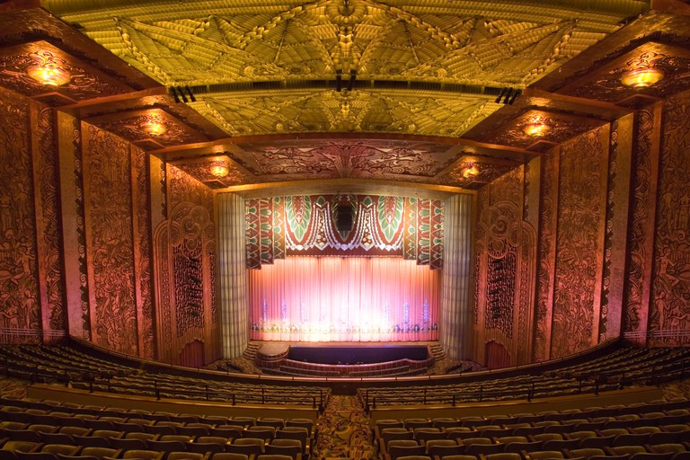Stage and interior at the Paramount Theatre in Oakland, California