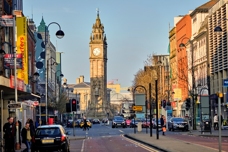 Albert memorial clock, Belfast, Northern Ireland, United Kingdom, 2018