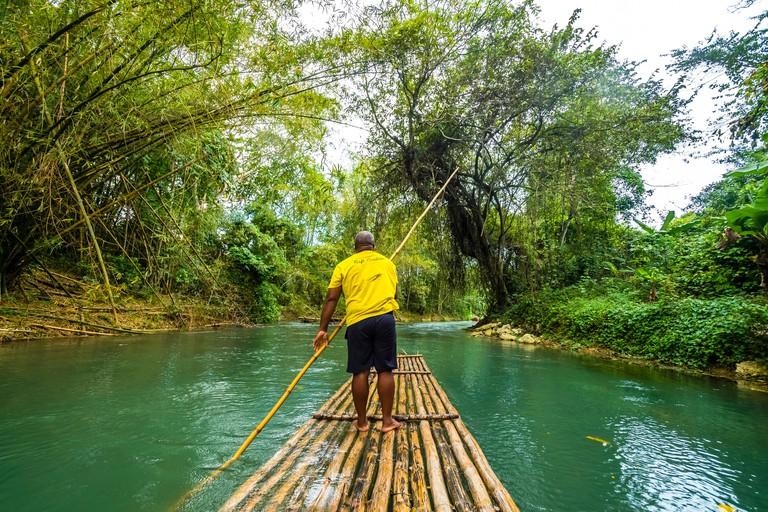 Rafting on the Martha Brae, river Martha Brae, Rafting Village, region Montego Bay, Jamaica, Great Antilles, Caribbean