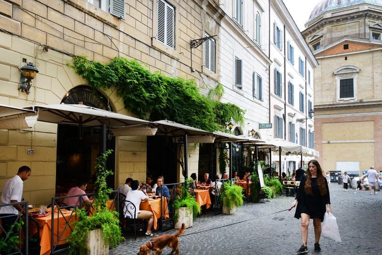 Cafes and restaurant on Piazza della Madonna dei Monti in Rome.