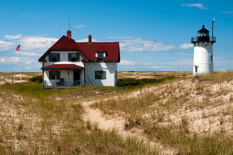 Visitors to Cape Cod can stay at Race Point lighthouse in the keeper's house in Provincetown, Massachusetts. It is in the Cape Cod National Seashore.
