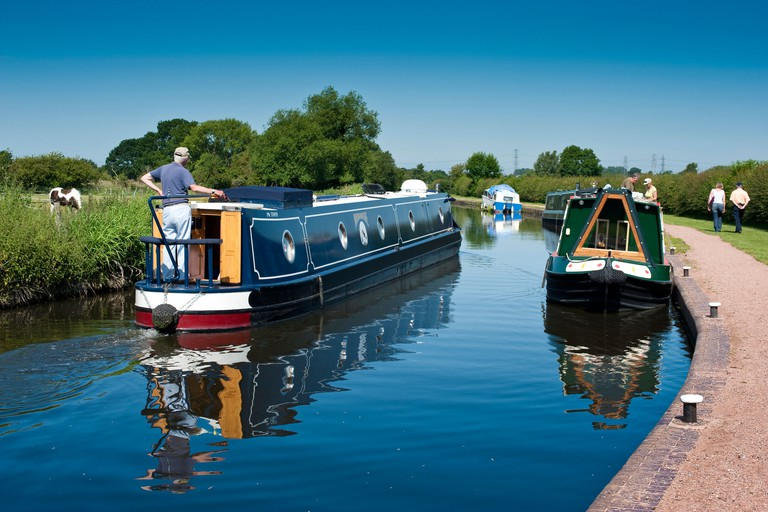 Narrow boats on the Staffordshire and Worcester Canal at The Bratch Wombourne Staffordshire England UK