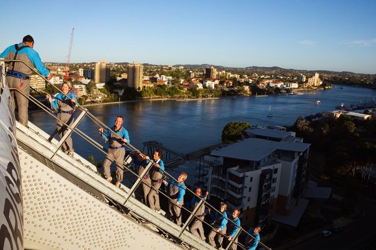 Climbers on the Story Bridge during the Story Bridge Adventure Climb.  Brisbane, Queensland, Australia