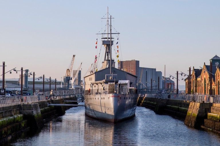 The WW1 ship HMS Caroline, Alexandra Dock, Belfast, Titanic Quarter