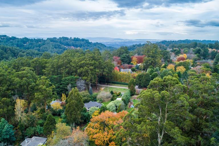 Aerial landscape of Dandenong Ranges in autumn. Melbourne, Victoria, Australia