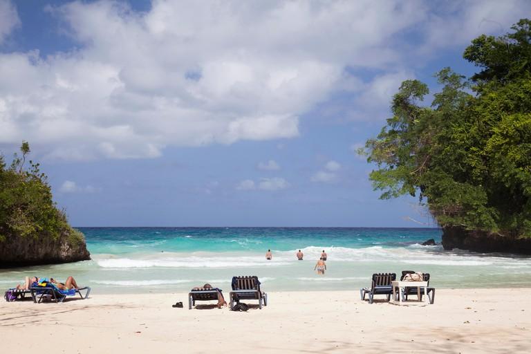 JAMAICA, Port Antonio. The beach at the Frenchman's Cove Resort.