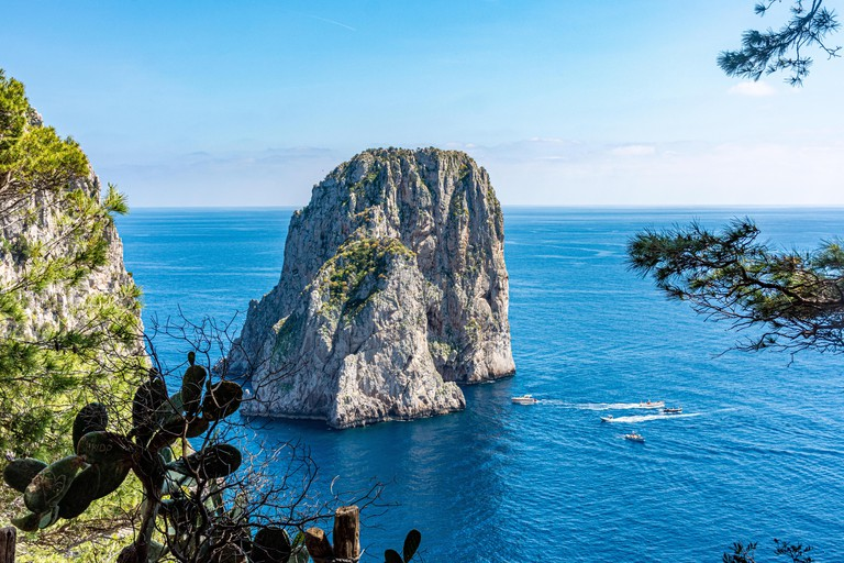 Italy, Capri, view of the Faraglioni