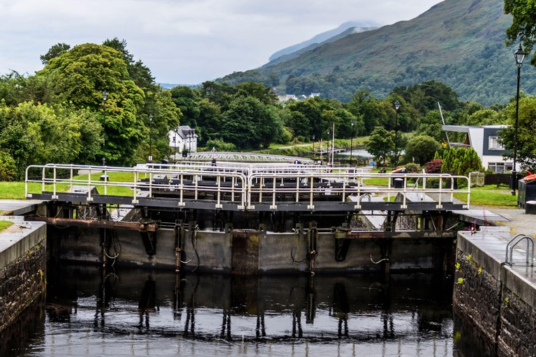 View from the top of Neptune's Staircase, Caledonian Canal, Scotland