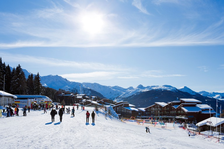 Bottom of the slopes in the resort centre, Arc 1800, Les Arcs, Tarentaise, Savoie, France
