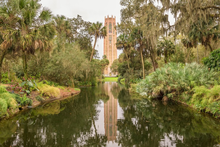 The Singing Tower in Bok Tower Gardens near Lake Wales, Florida. Bok Tower Gardens  is a National Historic Landmark  and a bird