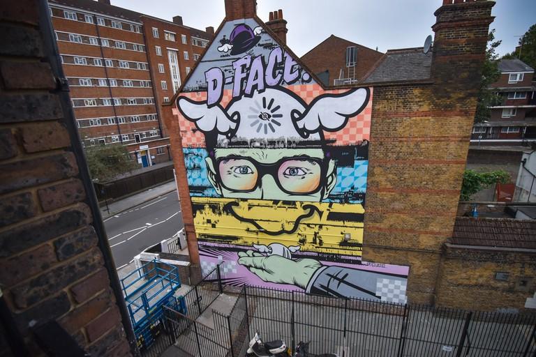 D_Face - London Mural Festival - Theatro Technis, 26 Crowndale Road, NW1 1TT