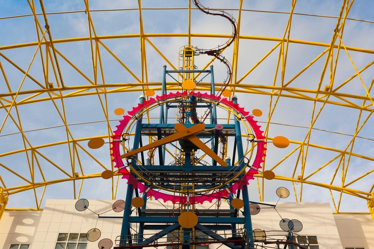 USA, Florida, Fort Lauderdale, Museum of Discovery and Science, clock tower
