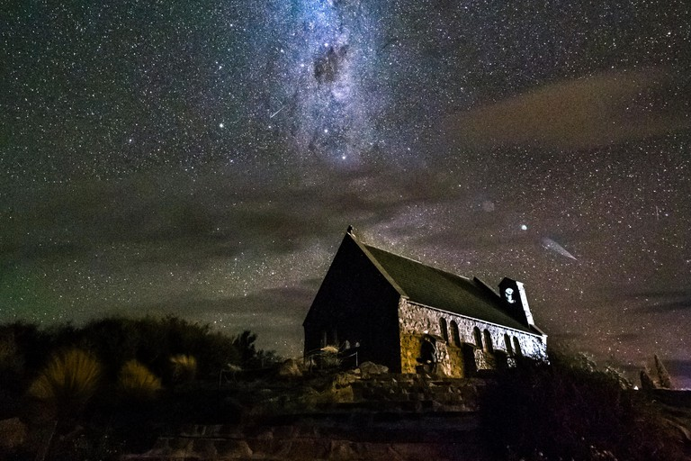 New Zealand, South Island, Canterbury Region, Church of the Good Shepherd at night