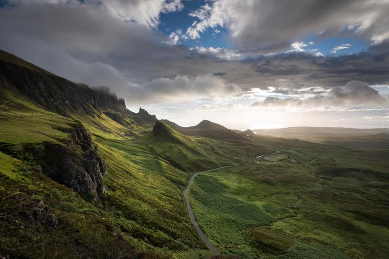 Morning light in the Quiraing rocky landscape, Isle of Skye, Scotland, United Kingdom