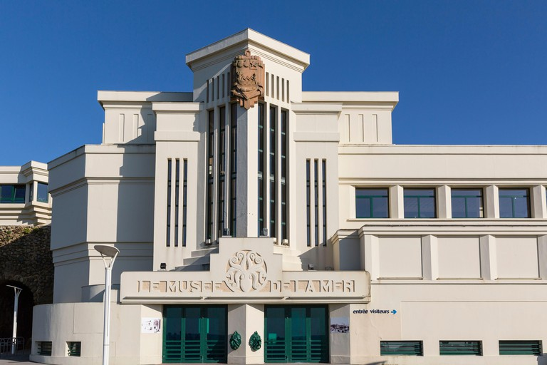 France, Pyrenees Atlantiques, Bask country, Biarritz, the main facade of the Musee de la Mer built in 1933 by the architects Hiriart, Lafaye and Lacoureyre