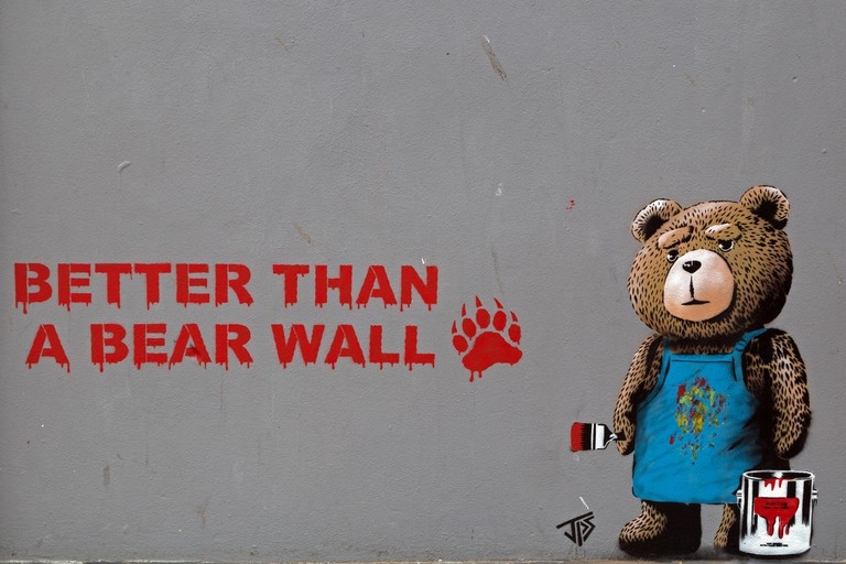 """Better than a Bear Wall"", street art by JPS in Weston-super-Mare, England"